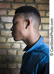 Young male fashion model - Shallow depth of field profile...
