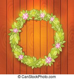 Cartoon wreath on wood wall. Vector background