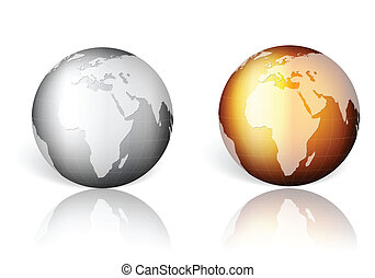 gold silver world globe