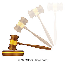 Judge gavel on a white background. Vector illustration.