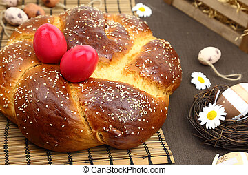 Easter bread and decoration eggs