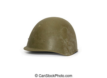 Old Soviet Helmet - World War Two Soviet military helmet on...