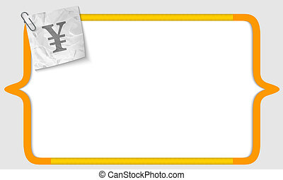 vector brackets with crumpled paper and yen sign