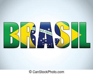 Brasil 2014 Letters with Brazilian Flag - Vector - Brasil...