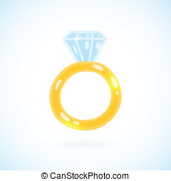 Cute cartoon ring with brilliant. Engagement ring...