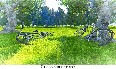 Two bicycles in the green grass - Illustration was done from...