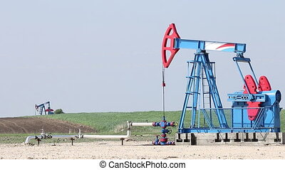 oil pump jacks work on field