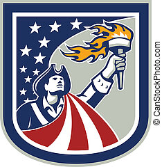 American Patriot Holding Up Torch Flag Shield - Illustration...