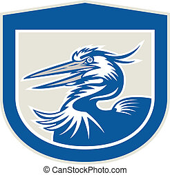 Great Blue Heron Head Shield Retro - Illustration of a great...