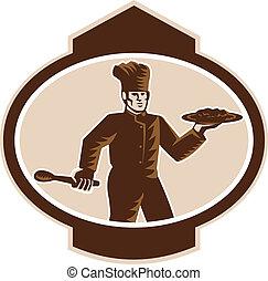 Chef Cook Serving Food Platter Woodcut Retro