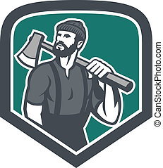 LumberJack Holding Axe Shield Retro - Illustration of a...