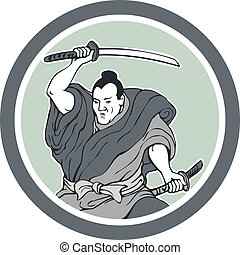 Samurai Warrior Wielding Katana Sword Circle - Illustration...