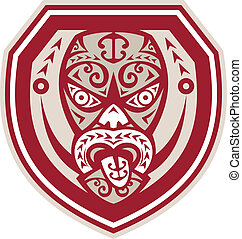 Maori Mask Tongue Out Shield Retro - Illustration of a...