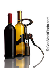 bottle of wine with corkscrew