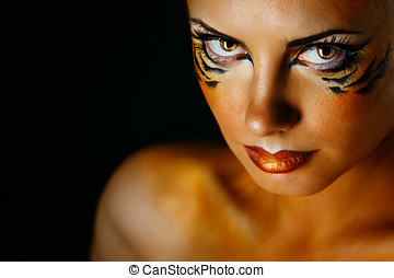 Girl tigress - Beautiful and dangerous girl tigress with...