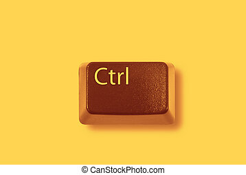 "PC  - Red ""CTRL\"" computer key on yellow background"