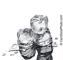 three ice cubes on white reflective surface