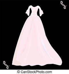pink wedding dress with a pattern o