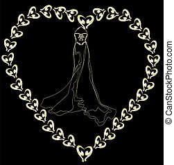 wedding dress outline on a black ba