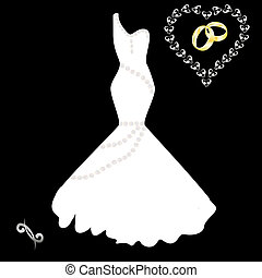 wedding dress on a black background