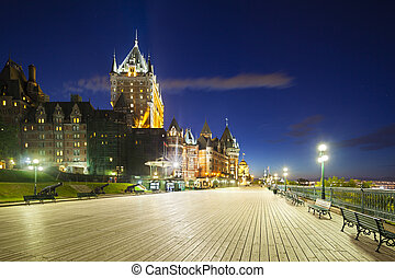 Chateau Frontenac in Quebec City At Night, Canada - Chateau...
