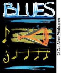 concept blues and trumpet background
