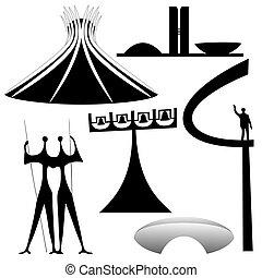Vector Landmarks of Brasilia - Vector illustration of the...