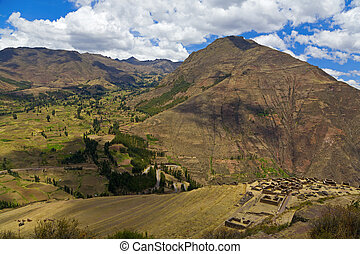 Pisac - Overlook of Sacred Valley and Pisac ruins near...