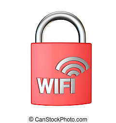 wifi security padlock 3d render on white background - red...