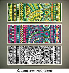 Abstract vector tribal ethnic background set. Three variants...