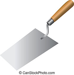 Bricklayer tool to work with cement mortar. Vector done...
