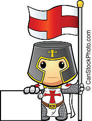 Knight Holding Flag A Sign