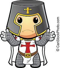 Knight Looking Unsure - A cartoon illustration of a St...