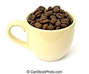 Coffee cup with coffee beans on white