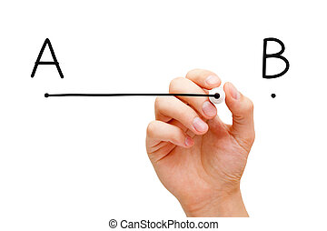From point A to point B - Hand drawing a line from point A...