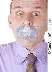 Man with taped mouth isolated on white bacokround