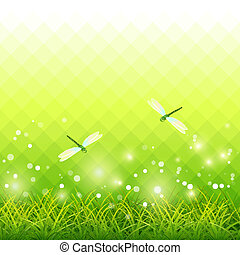 Green Grass Dragonfly Season Background Vector - Vector...
