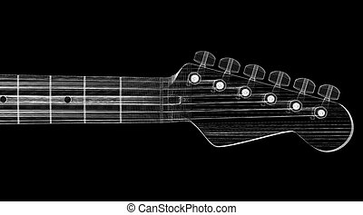 Electric guitar  3D model body structure, wire model