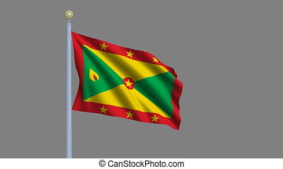 Flag of Grenada with alpha matte - Flag of Grenada waving in...