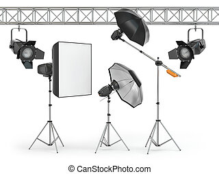 Photo studio equipment  on white isolated background. 3d
