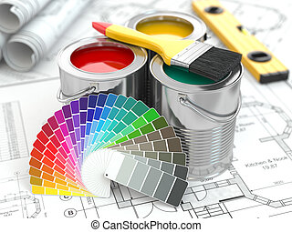 Construction. Cans of paint with colour palette and...