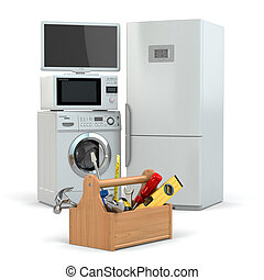 Appliance repair. Toolbox and tv, refrigerator, washing...