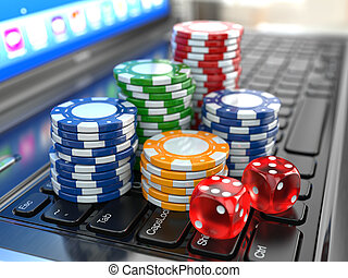 Virtual casino. Online gambling. Laptop with dice and chips....