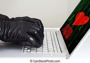 Heartbleed exploit concept with hands wearing black gloves