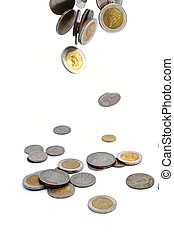 coins falling to the ground - Heap of Thai coins falling to...