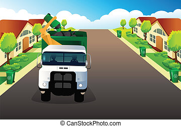 Garbage truck picking up trash - A vector illustration of...