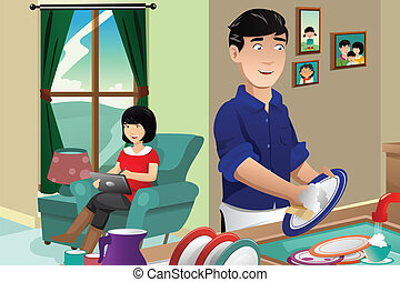 Husband washing dishes - A vector illustration of husband...
