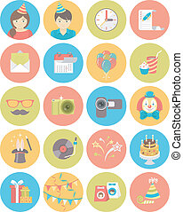Kids Birthday Party Round Icons - Set of flat round icons of...