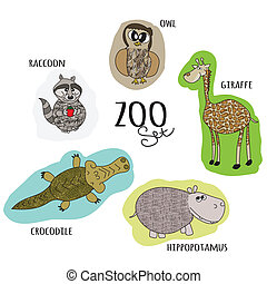 cartoon zoo set