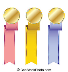 different golden medals with colored ribbons